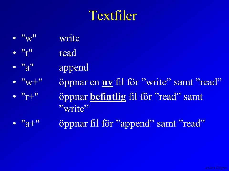 Anders Sjögren Textfiler w write r read a append w+ öppnar en ny fil för write samt read r+ öppnar befintlig fil för read samt write a+ öppnar fil för append samt read