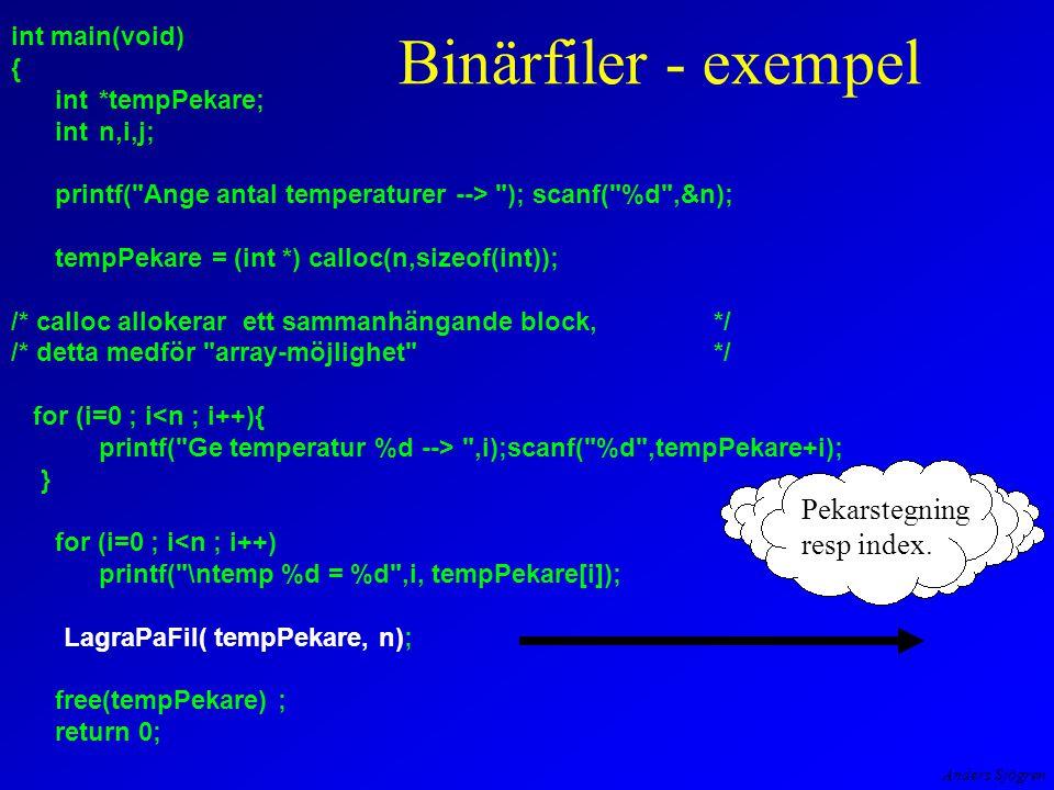 Anders Sjögren int main(void) { int*tempPekare; intn,i,j; printf( Ange antal temperaturer --> ); scanf( %d ,&n); tempPekare = (int *) calloc(n,sizeof(int)); /* calloc allokerar ett sammanhängande block,*/ /* detta medför array-möjlighet */ for (i=0 ; i<n ; i++){ printf( Ge temperatur %d --> ,i);scanf( %d ,tempPekare+i); } for (i=0 ; i<n ; i++) printf( \ntemp %d = %d ,i, tempPekare[i]); LagraPaFil( tempPekare, n); free(tempPekare) ; return 0; Binärfiler - exempel Pekarstegning resp index.