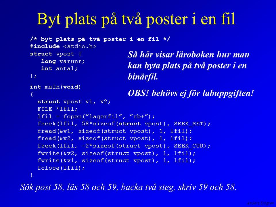 Anders Sjögren Byt plats på två poster i en fil Så här visar läroboken hur man kan byta plats på två poster i en binärfil.