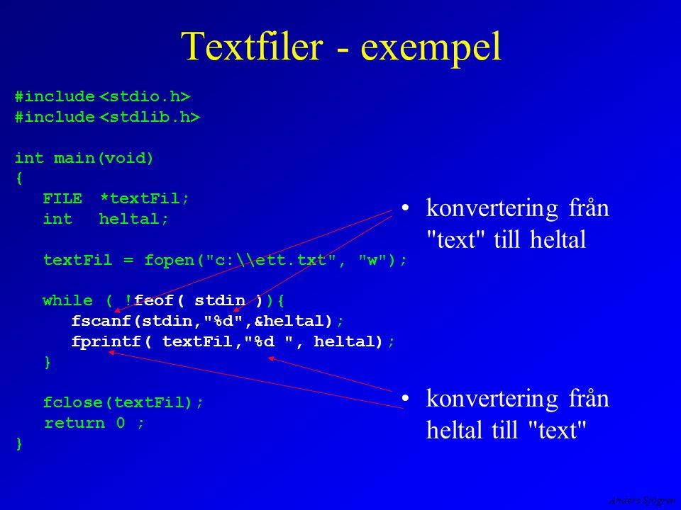 Anders Sjögren Först, preparera filen ett.txt
