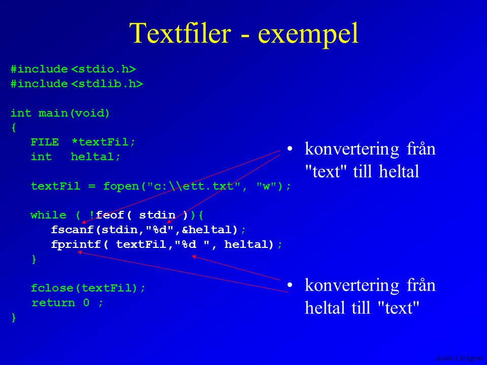 Anders Sjögren void LagraPaFil( int* tempPekare, int n ) { charfilnamn[25]; FILE*utFil; inttemp; printf( \nAnge filens operativsystemnamn --> ); scanf( %s , filnamn ); utFil = fopen( filnamn, w+b ); fwrite( tempPekare, n*sizeof( *tempPekare ), 1, utFil); /* kontroll */ rewind( utFil ); while ( !feof(utFil) ){ fread( &temp, sizeof( int ), 1, utFil ); printf( \nTemperatur = %d , temp ) ; } fclose( utFil ); return; } Binärfiler - exempel tillägg på föregående program Nja, testa!