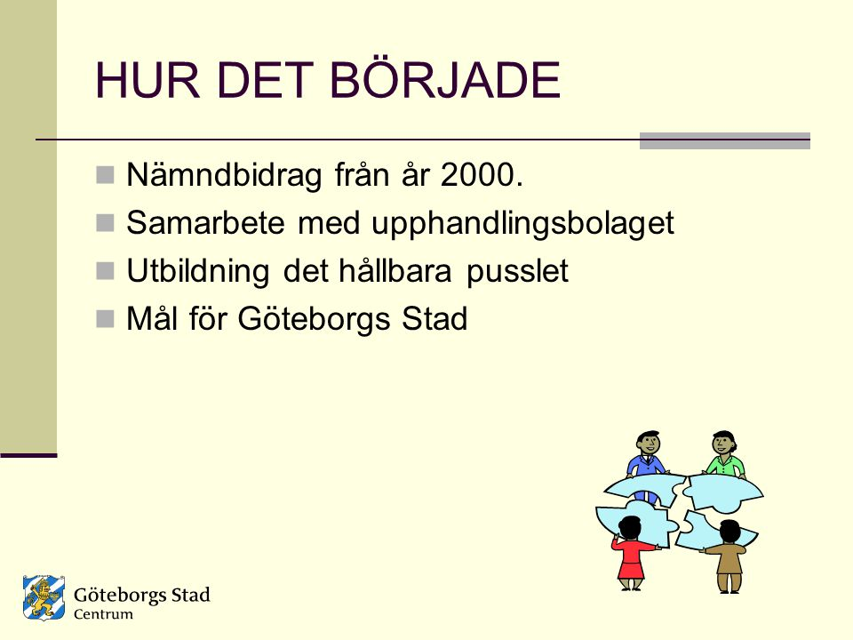 HUR DET BÖRJADE Nämndbidrag från år 2000. Samarbete med upphandlingsbolaget Utbildning det hållbara pusslet Mål för Göteborgs Stad