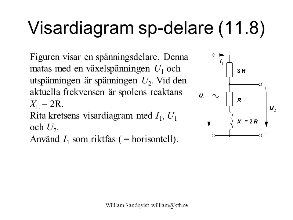 William Sandqvist william@kth.se Visardiagram sp-delare (11.8) Figuren visar en spänningsdelare.