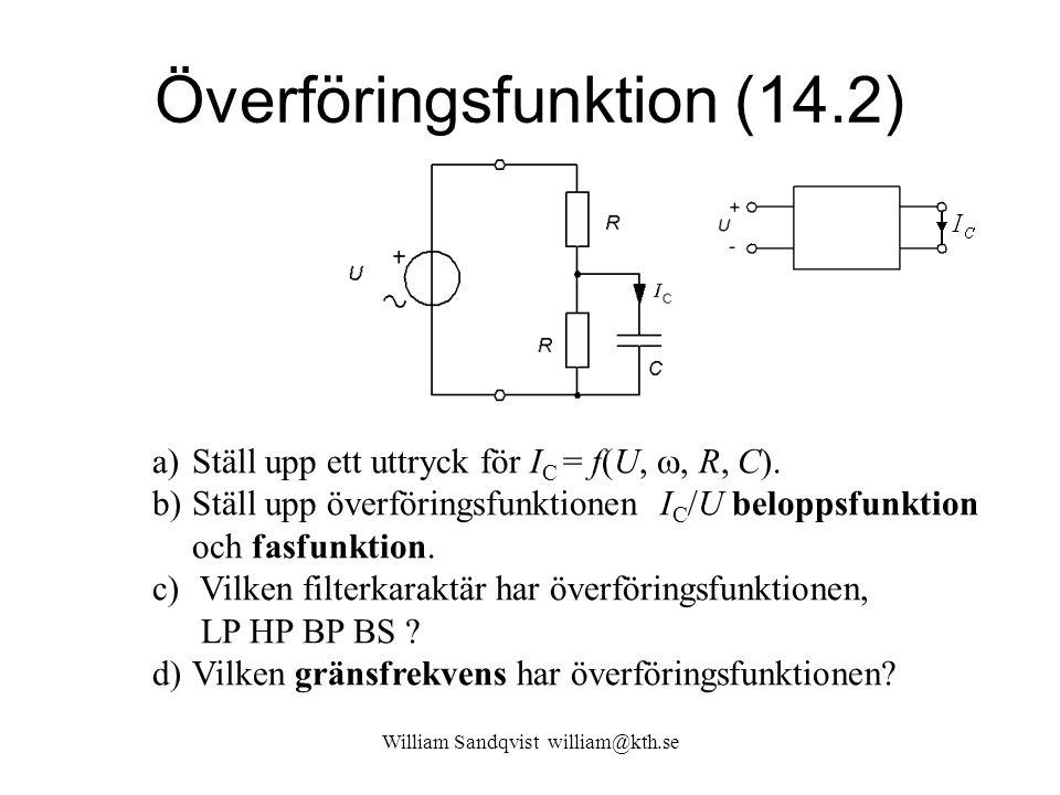 Överföringsfunktion (14.2) a)Ställ upp ett uttryck för I C = f(U, , R, C).