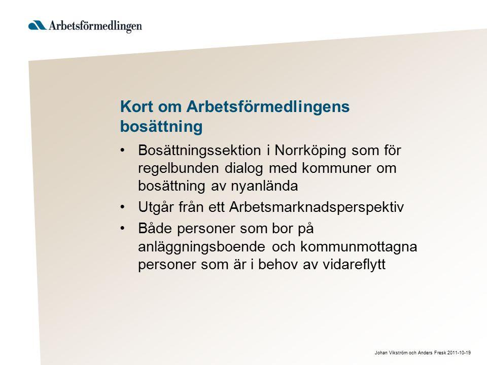 Johan Vikström och Anders Fresk 2011-10-19 Kort om Arbetsförmedlingens bosättning Bosättningssektion i Norrköping som för regelbunden dialog med kommu