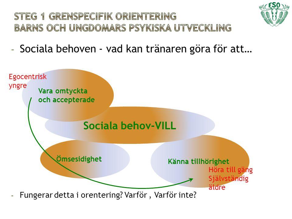 - Sociala behoven - vad kan tränaren göra för att… - Fungerar detta i orentering? Varför, Varför inte? Ömsesidighet Känna tillhörighet Sociala behov-V