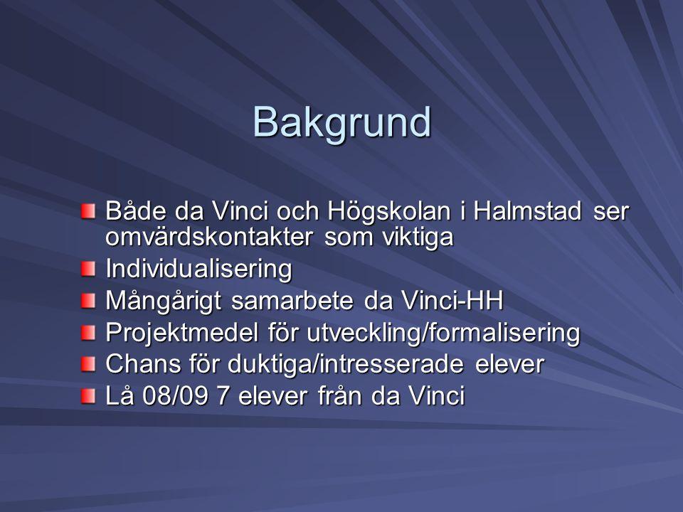 Bakgrund Både da Vinci och Högskolan i Halmstad ser omvärdskontakter som viktiga Individualisering Mångårigt samarbete da Vinci-HH Projektmedel för ut