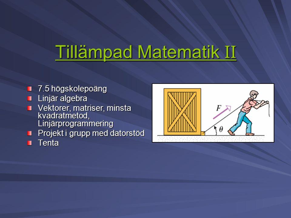 Tillämpad Matematik II Tillämpad Matematik II 7.5 högskolepoäng Linjär algebra Vektorer, matriser, minsta kvadratmetod, Linjärprogrammering Projekt i