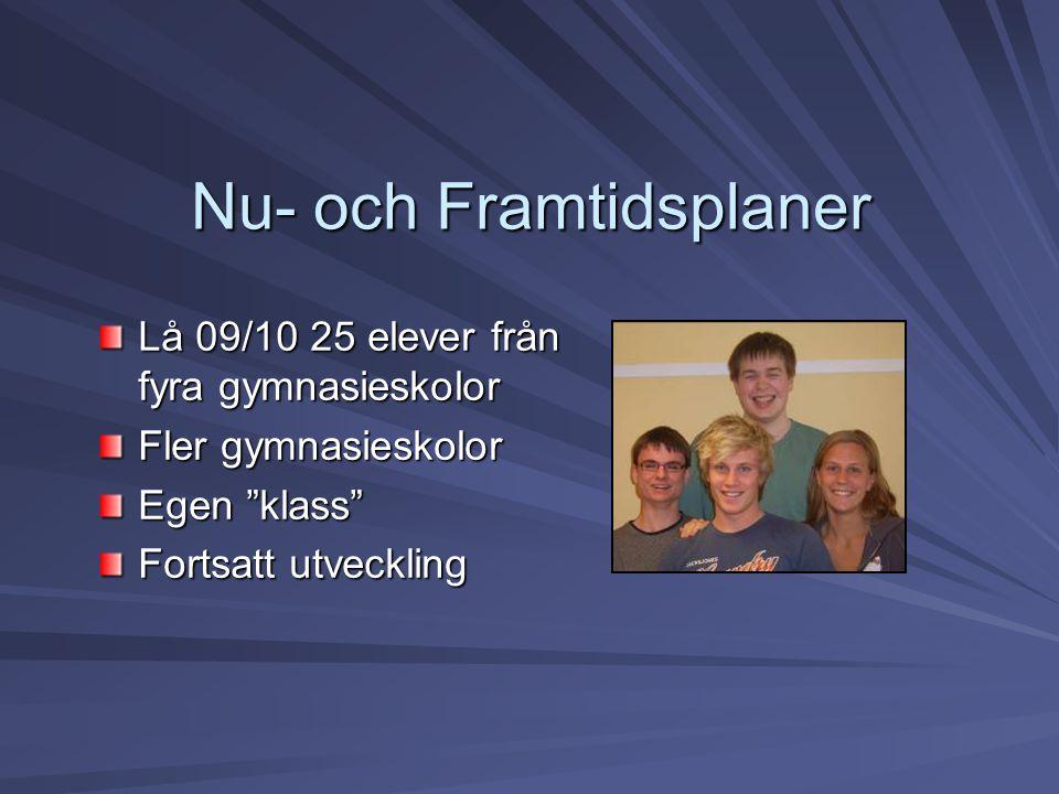 """Nu- och Framtidsplaner Lå 09/10 25 elever från fyra gymnasieskolor Fler gymnasieskolor Egen """"klass"""" Fortsatt utveckling"""