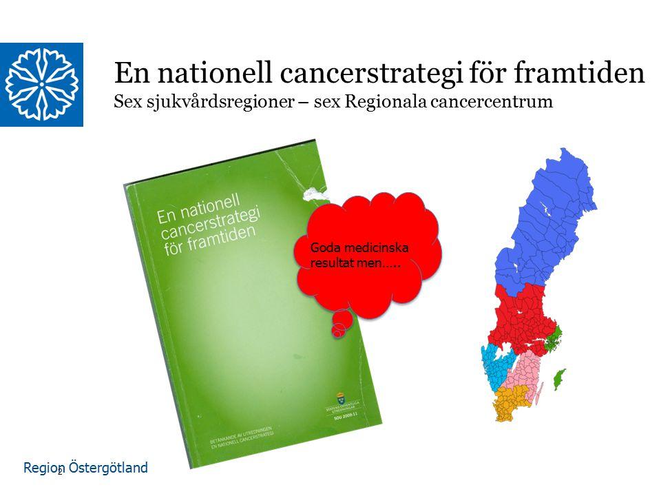 Region Östergötland En nationell cancerstrategi för framtiden Sex sjukvårdsregioner – sex Regionala cancercentrum 2 Goda medicinska resultat men…..