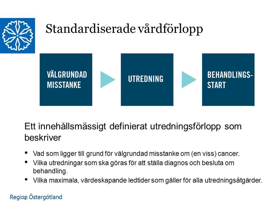 Region Östergötland Ett innehållsmässigt definierat utredningsförlopp som beskriver Vad som ligger till grund för välgrundad misstanke om (en viss) cancer.