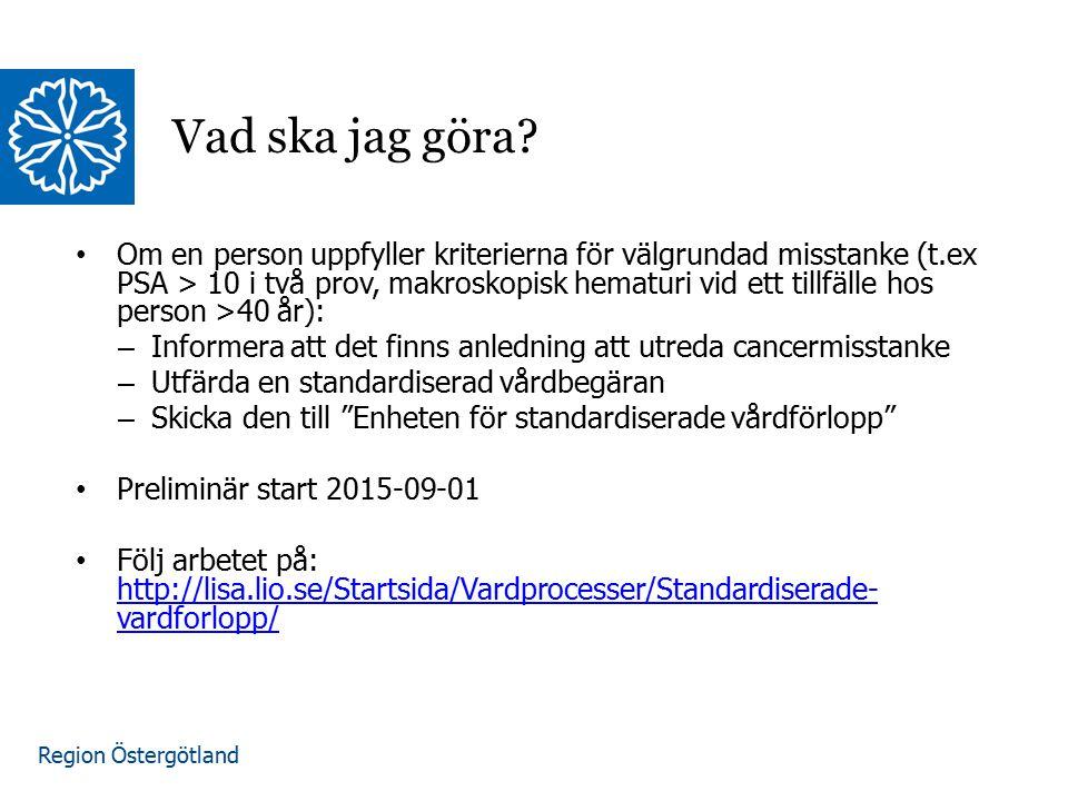 Region Östergötland Om en person uppfyller kriterierna för välgrundad misstanke (t.ex PSA > 10 i två prov, makroskopisk hematuri vid ett tillfälle hos person >40 år): – Informera att det finns anledning att utreda cancermisstanke – Utfärda en standardiserad vårdbegäran – Skicka den till Enheten för standardiserade vårdförlopp Preliminär start 2015-09-01 Följ arbetet på: http://lisa.lio.se/Startsida/Vardprocesser/Standardiserade- vardforlopp/ http://lisa.lio.se/Startsida/Vardprocesser/Standardiserade- vardforlopp/ Vad ska jag göra?