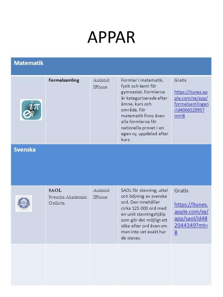APPAR Matematik Formelsamling Android IPhone Formler i matematik, fysik och kemi för gymnasiet. Formlerna är kategoriserade efter ämne, kurs och områd