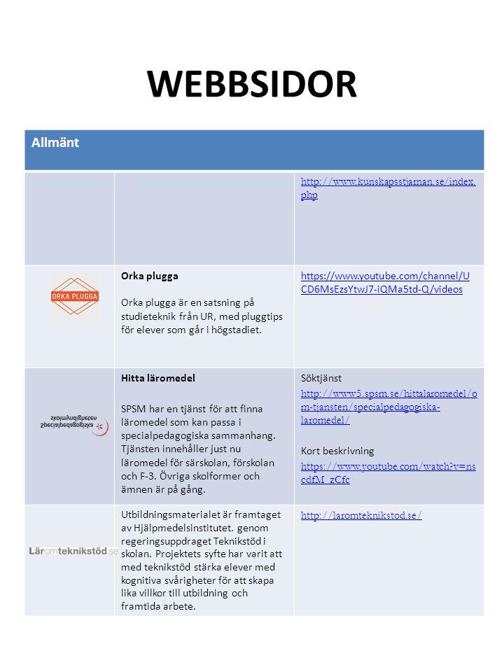 WEBBSIDOR Allmänt http://www.kunskapsstjarnan.se/index. php Orka plugga Orka plugga är en satsning på studieteknik från UR, med pluggtips för elever s