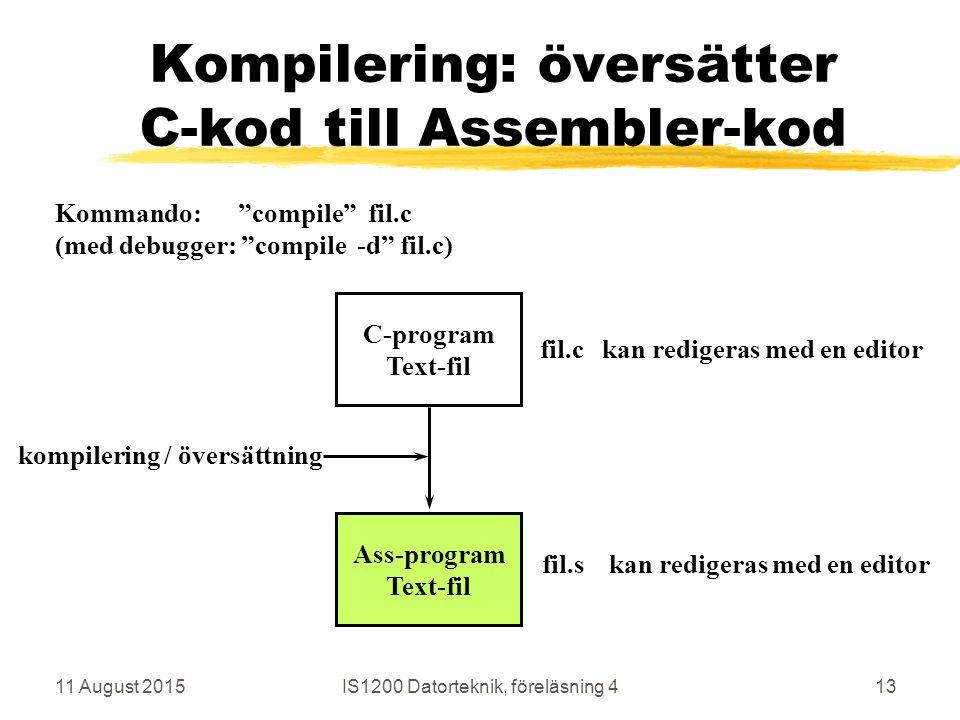 11 August 2015IS1200 Datorteknik, föreläsning 413 Kompilering: översätter C-kod till Assembler-kod C-program Text-fil Ass-program Text-fil kompilering / översättning fil.c kan redigeras med en editor fil.s kan redigeras med en editor Kommando: compile fil.c (med debugger: compile -d fil.c)