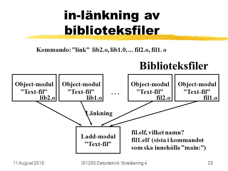 11 August 2015IS1200 Datorteknik, föreläsning 423 in-länkning av biblioteksfiler Ladd-modul Text-fil Länkning fil.elf, vilket namn.