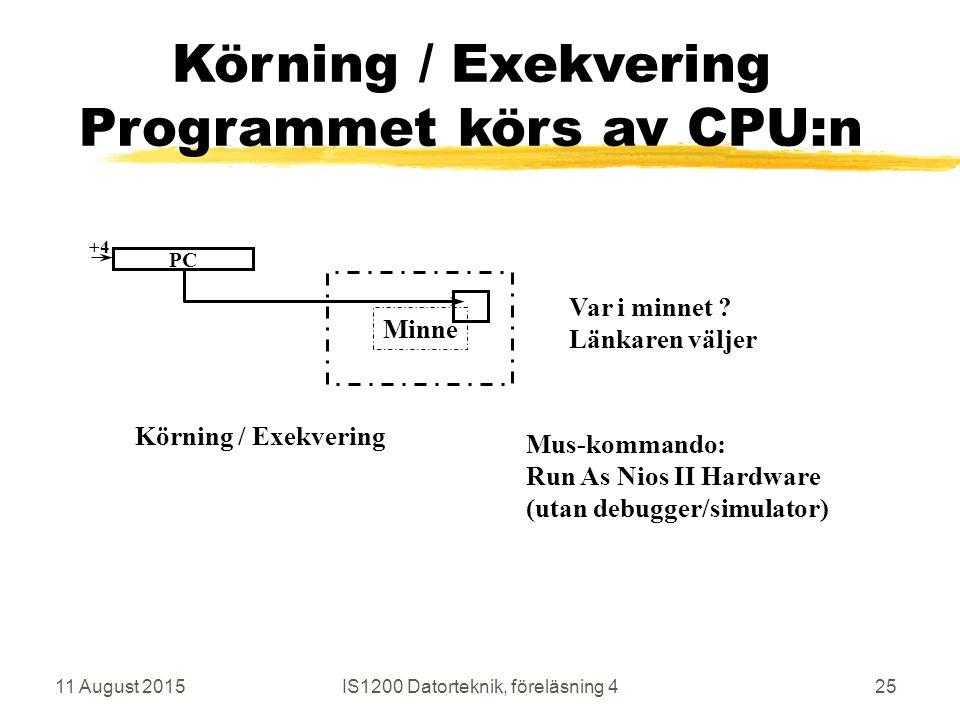 11 August 2015IS1200 Datorteknik, föreläsning 425 Minne Körning / Exekvering Programmet körs av CPU:n Körning / Exekvering Var i minnet .