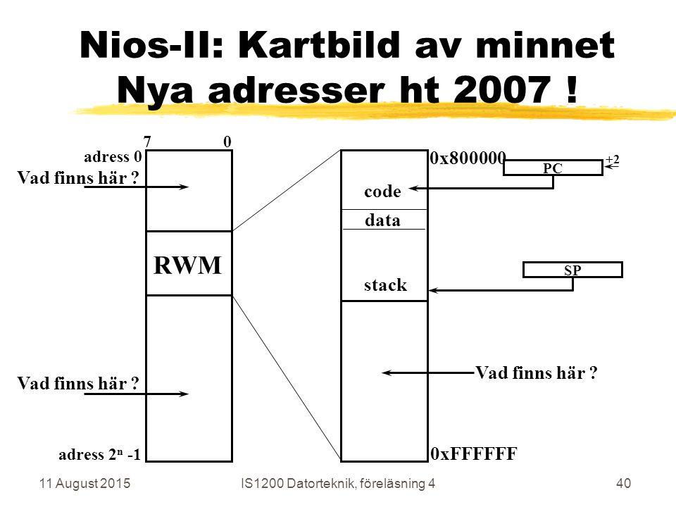 11 August 2015IS1200 Datorteknik, föreläsning 440 Nios-II: Kartbild av minnet Nya adresser ht 2007 .