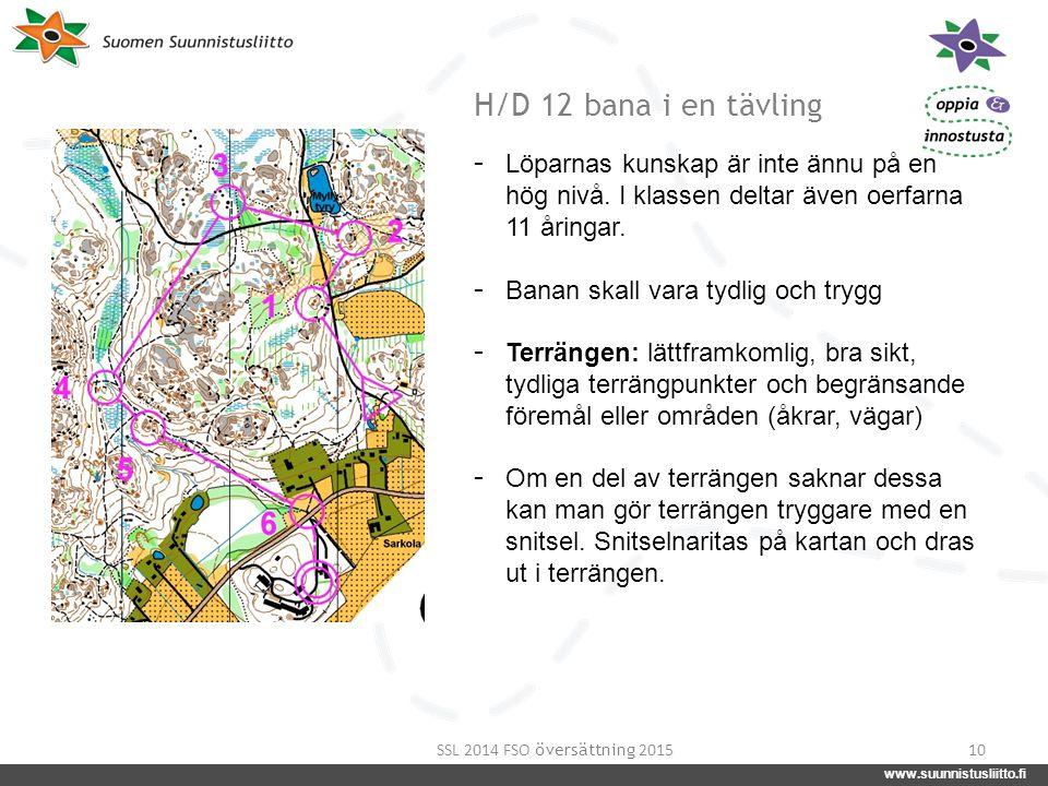 www.suunnistusliitto.fi facebook.com/suunnistusliitto @SuunnistusSSL www.suunnistusliitto.fi H/D 12 bana i en tävling 10 - Löparnas kunskap är inte än