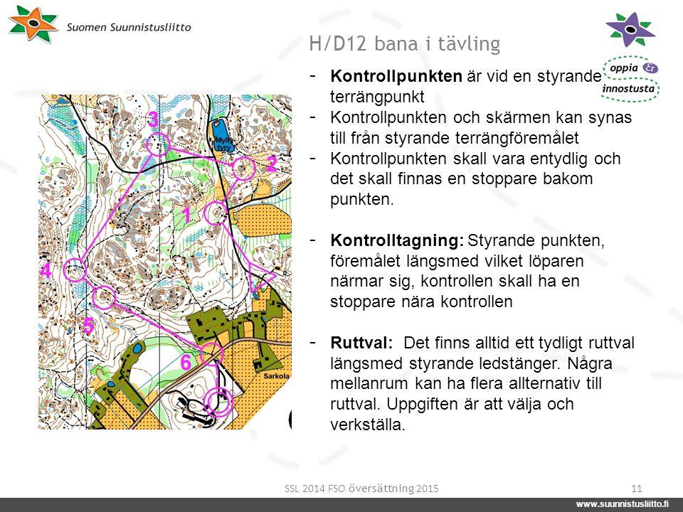 www.suunnistusliitto.fi facebook.com/suunnistusliitto @SuunnistusSSL www.suunnistusliitto.fi H/D12 bana i tävling 11 - Kontrollpunkten är vid en styra