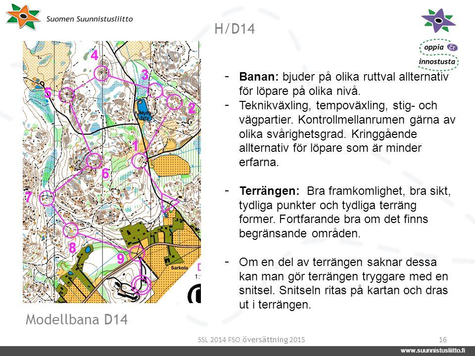 www.suunnistusliitto.fi facebook.com/suunnistusliitto @SuunnistusSSL www.suunnistusliitto.fi H/D14 16 - Banan: bjuder på olika ruttval allternativ för