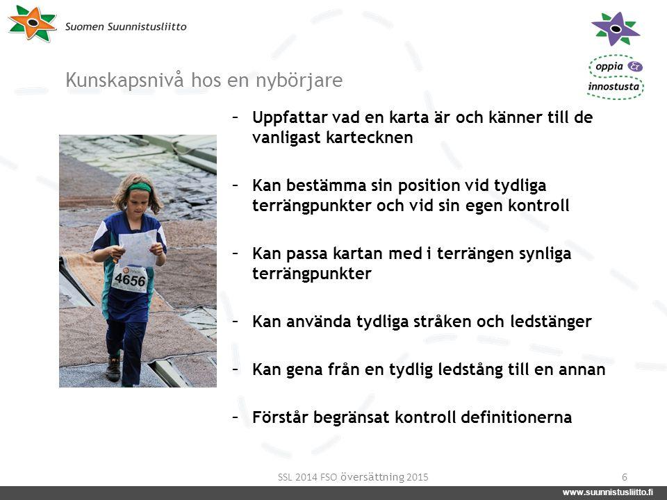www.suunnistusliitto.fi facebook.com/suunnistusliitto @SuunnistusSSL www.suunnistusliitto.fi Kunskapsnivå hos en nybörjare - Uppfattar vad en karta är