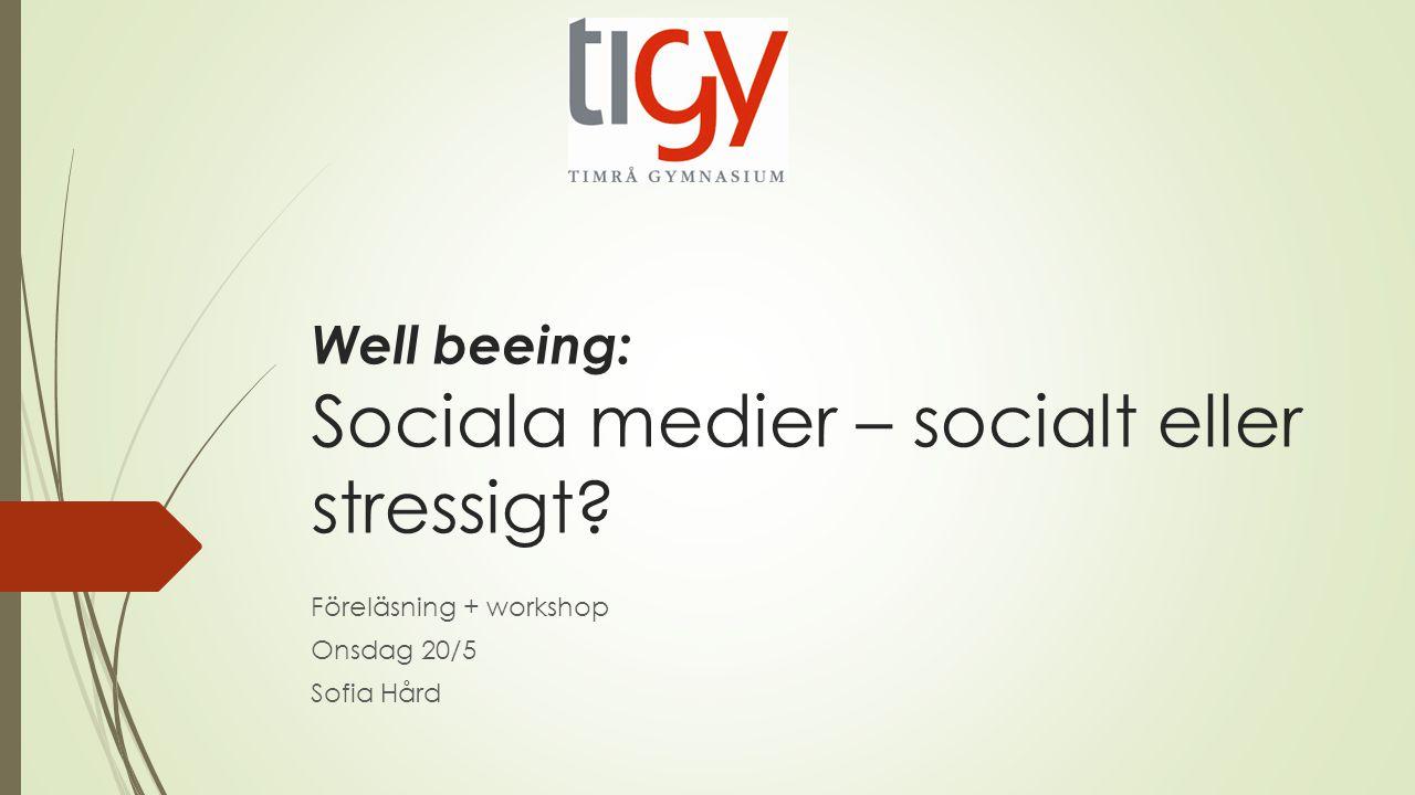 Well beeing: Sociala medier – socialt eller stressigt? Föreläsning + workshop Onsdag 20/5 Sofia Hård