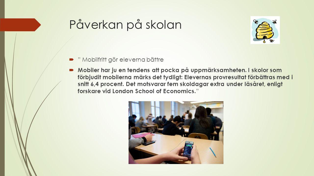 """Påverkan på skolan  """" Mobilfritt gör eleverna bättre  Mobiler har ju en tendens att pocka på uppmärksamheten. I skolor som förbjudit mobilerna märks"""