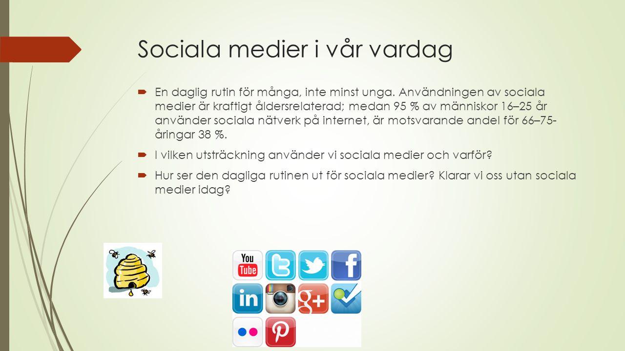 Dagens upplägg:  Sociala mediers sociala sidor  Sociala mediers steressande sidor  Reflektioner över användande av sociala medier  Sociala medier i framtiden.