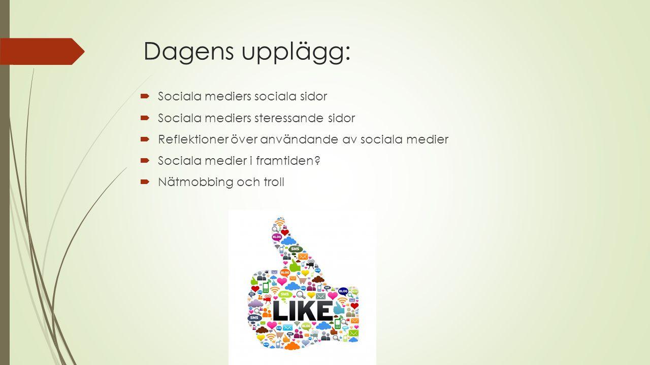 Dagens upplägg:  Sociala mediers sociala sidor  Sociala mediers steressande sidor  Reflektioner över användande av sociala medier  Sociala medier