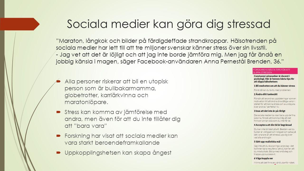 Osunda och överdrivna ideal kan odlas och påverka  50 procent av de svenskar som dagligen använder sociala medier känner sig stressade över att deras livsstil inte är tillräckligt hälsosam.