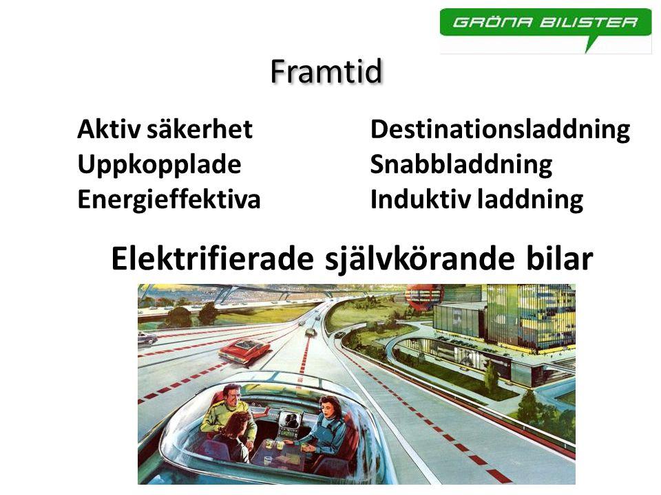 Framtid Aktiv säkerhet Uppkopplade Energieffektiva Destinationsladdning Snabbladdning Induktiv laddning Elektrifierade självkörande bilar
