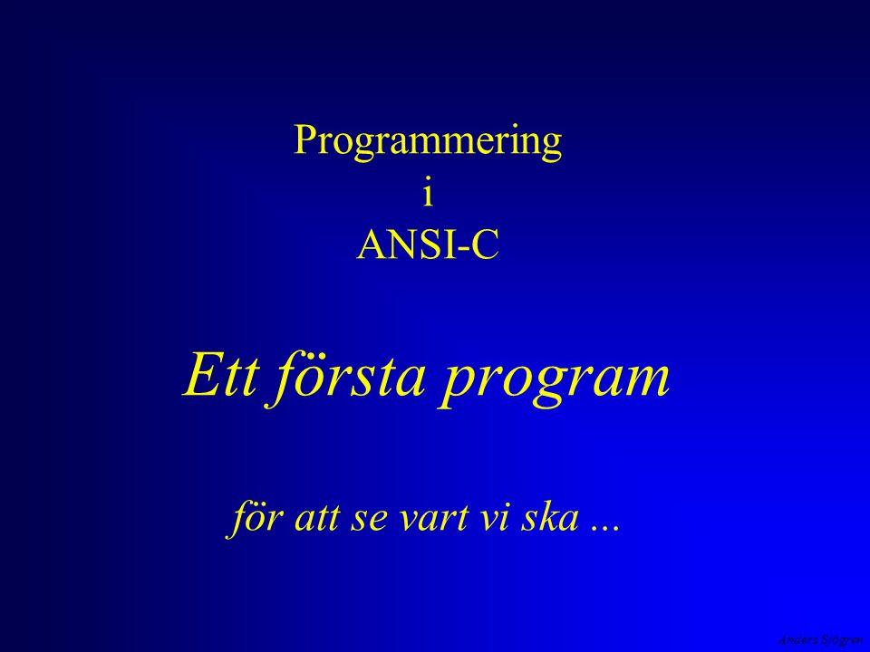 Anders Sjögren Programmering i ANSI-C Ett första program för att se vart vi ska...