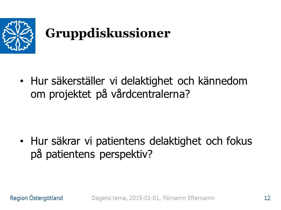 Region Östergötland Hur säkerställer vi delaktighet och kännedom om projektet på vårdcentralerna? Hur säkrar vi patientens delaktighet och fokus på pa