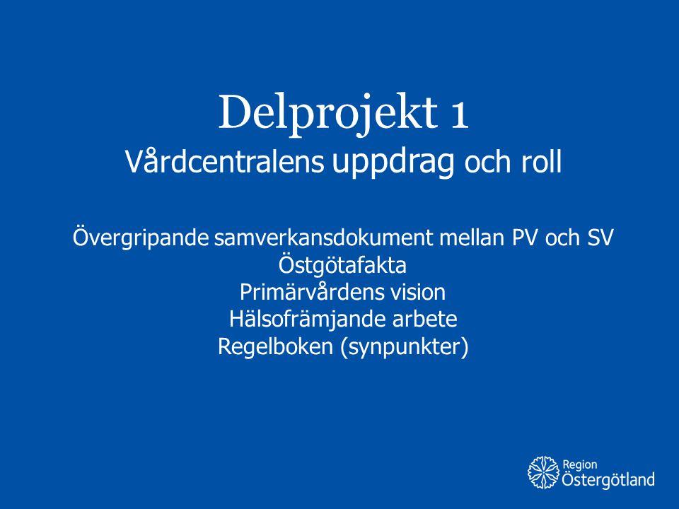 Region Östergötland Delprojekt 1 Vårdcentralens uppdrag och roll Övergripande samverkansdokument mellan PV och SV Östgötafakta Primärvårdens vision Hä