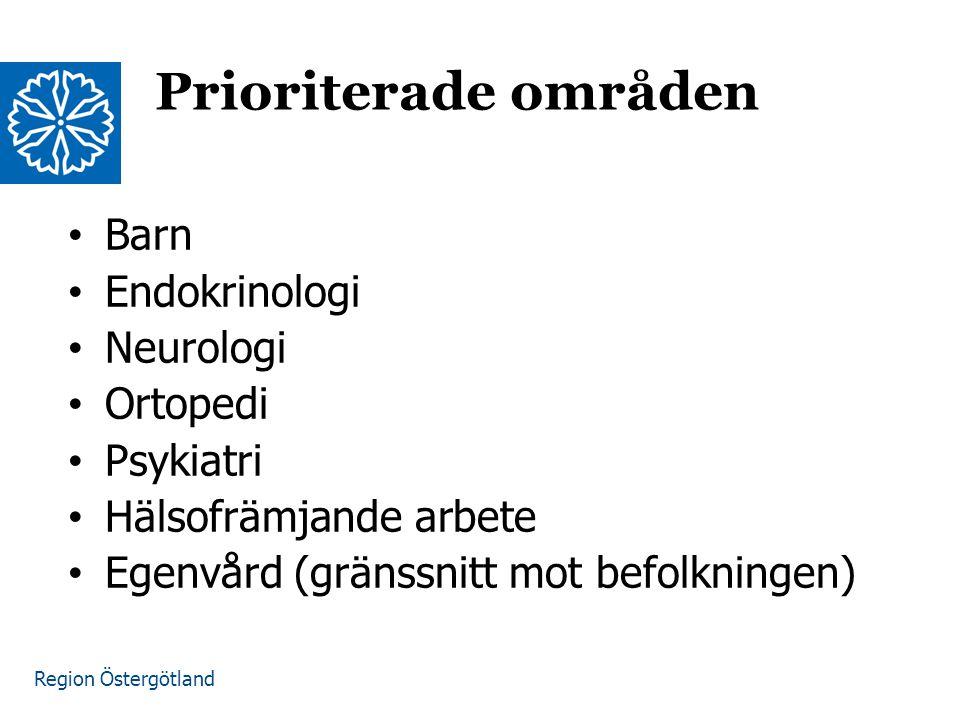 Region Östergötland Barn Endokrinologi Neurologi Ortopedi Psykiatri Hälsofrämjande arbete Egenvård (gränssnitt mot befolkningen) Prioriterade områden
