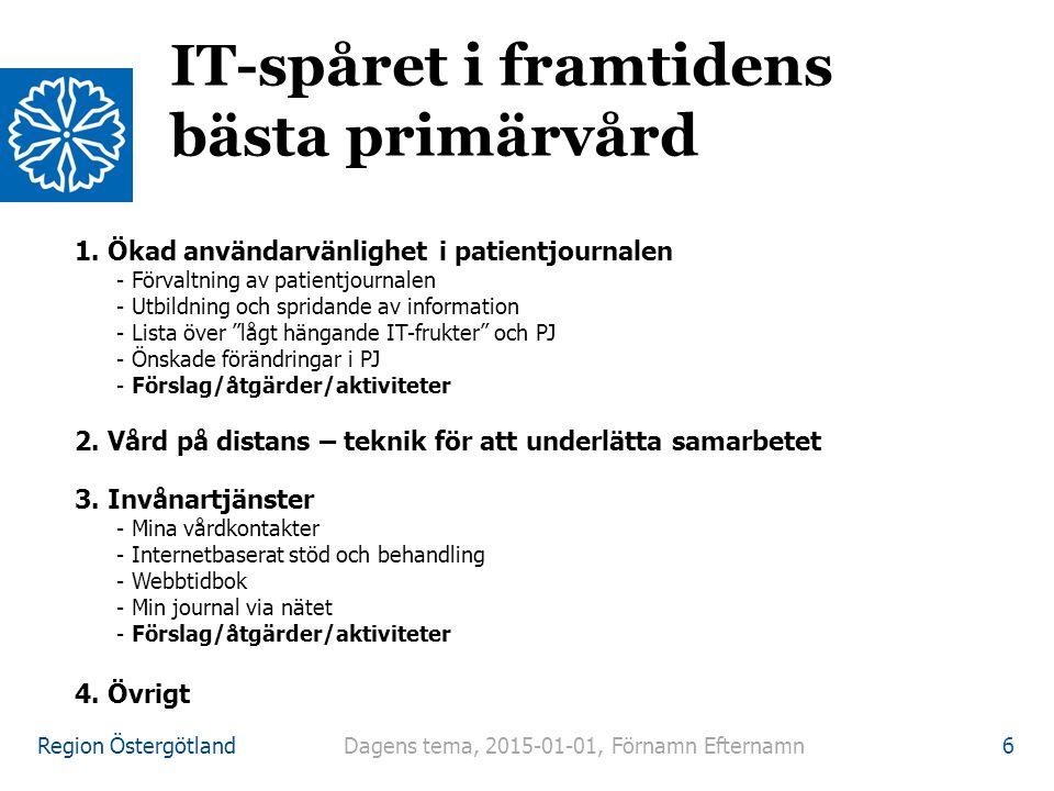 Region Östergötland 1. Ökad användarvänlighet i patientjournalen - Förvaltning av patientjournalen - Utbildning och spridande av information - Lista ö