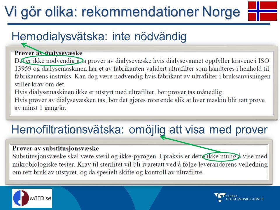 Vi gör olika: rekommendationer Norge Hemodialysvätska: inte nödvändig Hemofiltrationsvätska: omöjlig att visa med prover