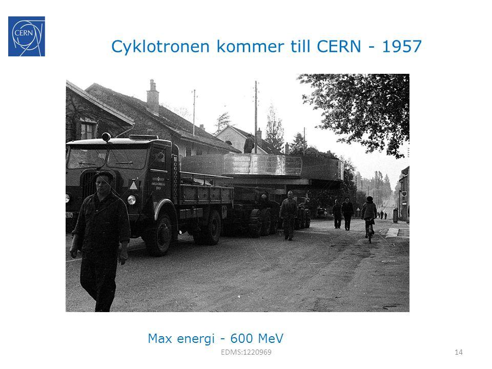 Cyklotronen kommer till CERN - 1957 Max energi - 600 MeV 14EDMS:1220969