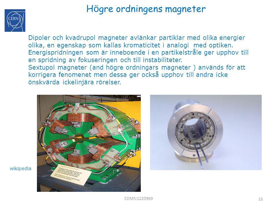 33 H ö gre ordningens magneter EDMS:1220969 Dipoler och kvadrupol magneter avlänkar partiklar med olika energier olika, en egenskap som kallas kromati