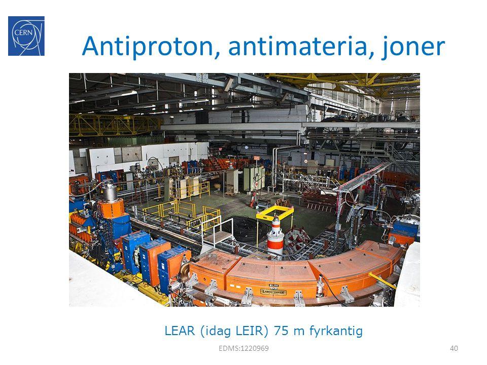 Antiproton, antimateria, joner EDMS:122096940 LEAR (idag LEIR) 75 m fyrkantig