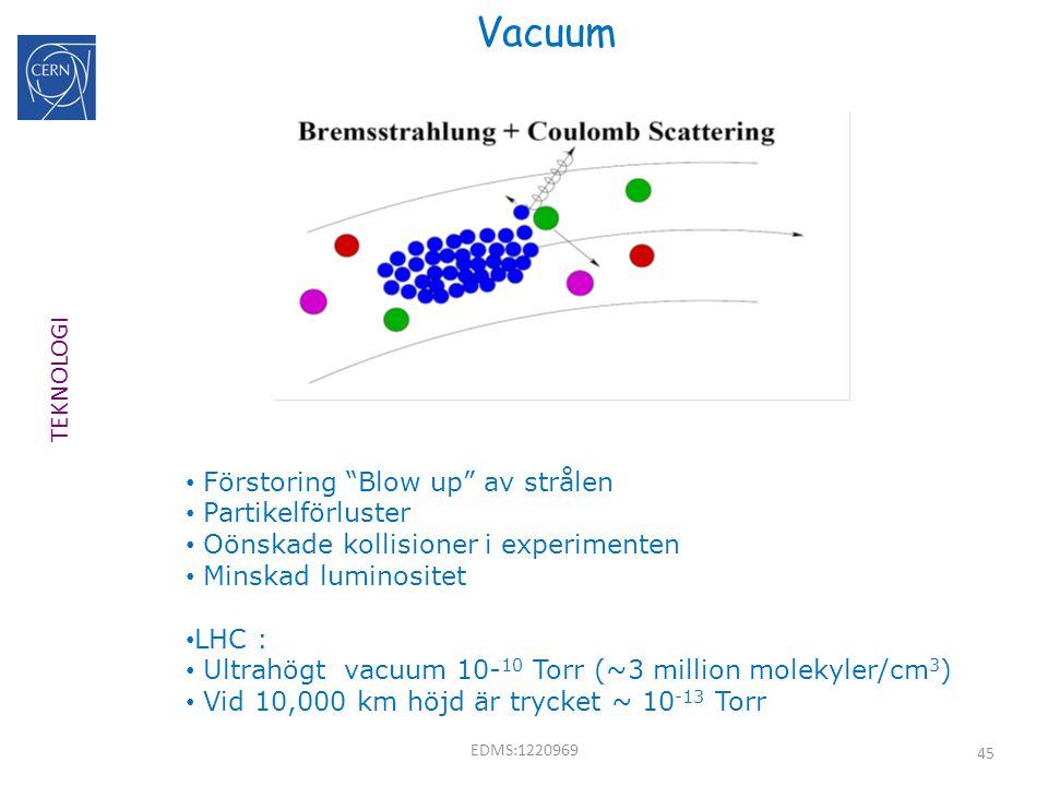 """45 Vacuum Förstoring """"Blow up"""" av strålen Partikelförluster Oönskade kollisioner i experimenten Minskad luminositet LHC : Ultrahögt vacuum 10- 10 Torr"""