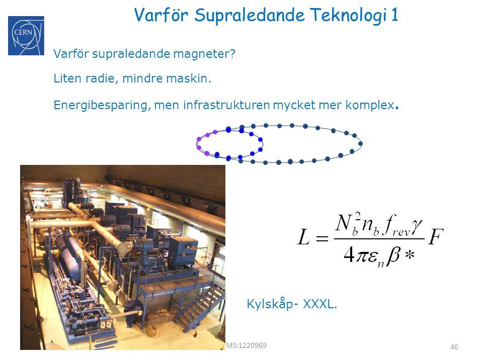 46 Varför Supraledande Teknologi 1 Varför supraledande magneter? Liten radie, mindre maskin. Energibesparing, men infrastrukturen mycket mer komplex.