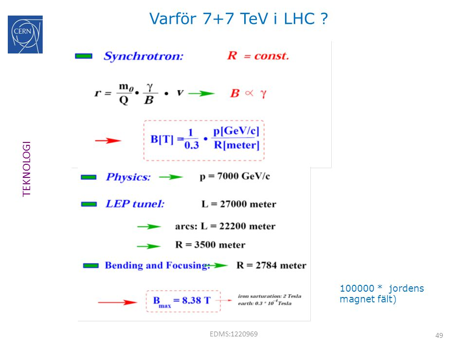 49 Varför 7+7 TeV i LHC ? TEKNOLOGI EDMS:1220969 100000 * jordens magnet fält)