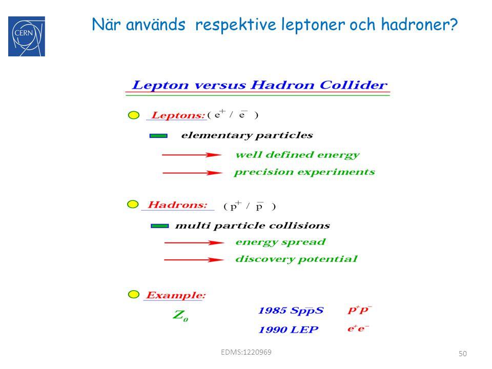50 När används respektive leptoner och hadroner? EDMS:1220969