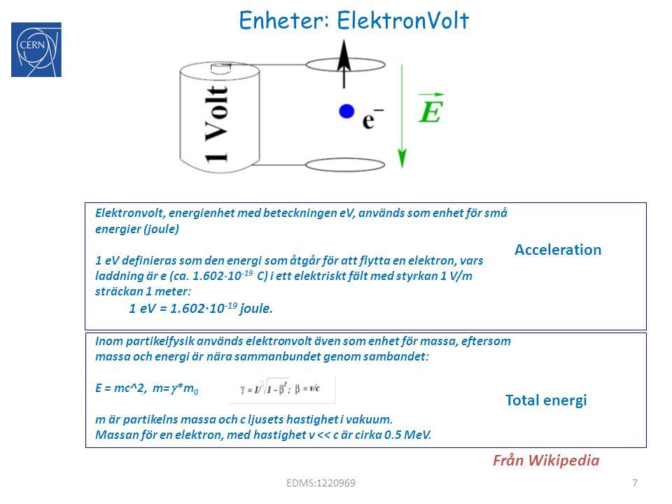 7 Enheter: ElektronVolt Elektronvolt, energienhet med beteckningen eV, används som enhet för små energier (joule) 1 eV definieras som den energi som å