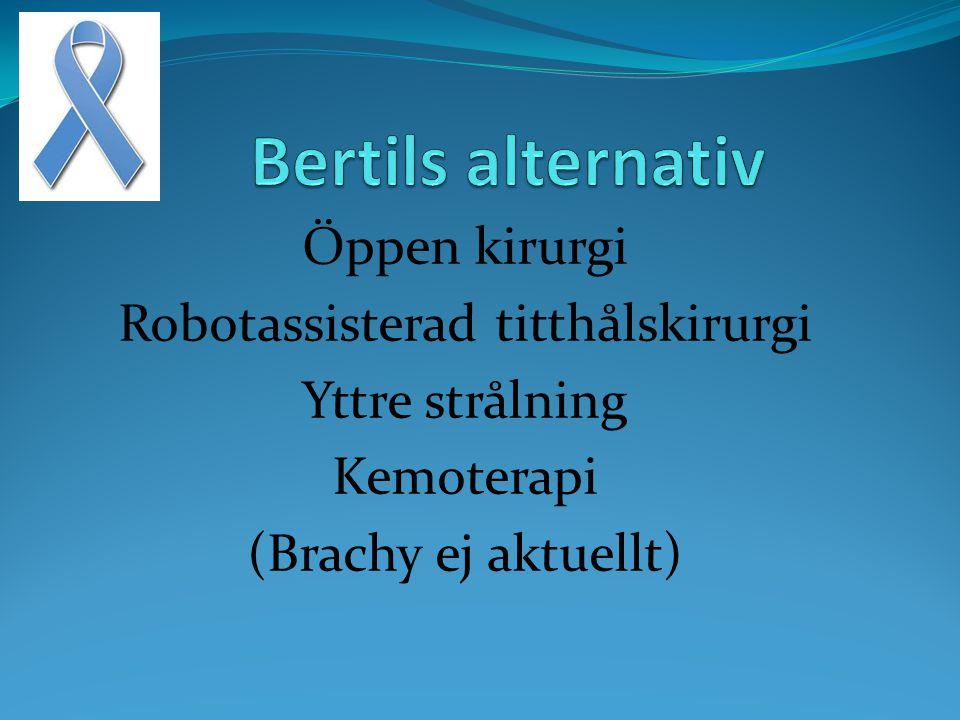 Öppen kirurgi Robotassisterad titthålskirurgi Yttre strålning Kemoterapi (Brachy ej aktuellt)