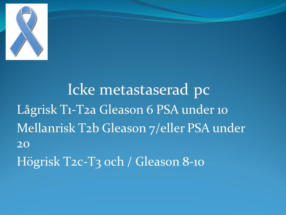 Icke metastaserad pc Lågrisk T1-T2a Gleason 6 PSA under 10 Mellanrisk T2b Gleason 7/eller PSA under 20 Högrisk T2c-T3 och / Gleason 8-10
