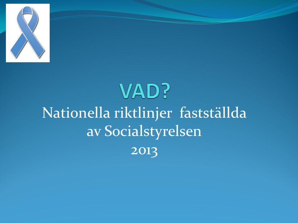 Nationella riktlinjer fastställda av Socialstyrelsen 2013