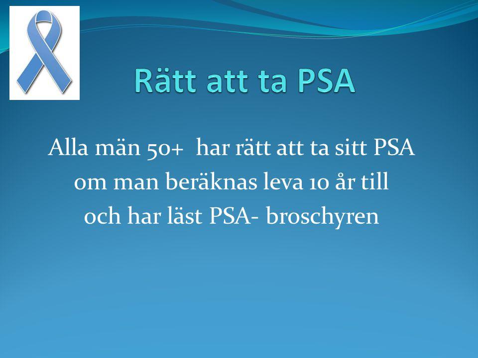 Alla män 50+ har rätt att ta sitt PSA om man beräknas leva 10 år till och har läst PSA- broschyren